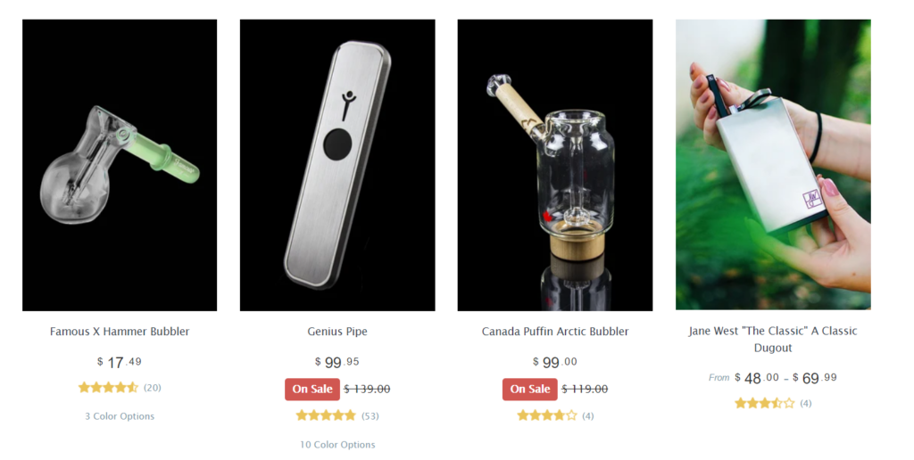 Examples of products sold by an online smoke shop
