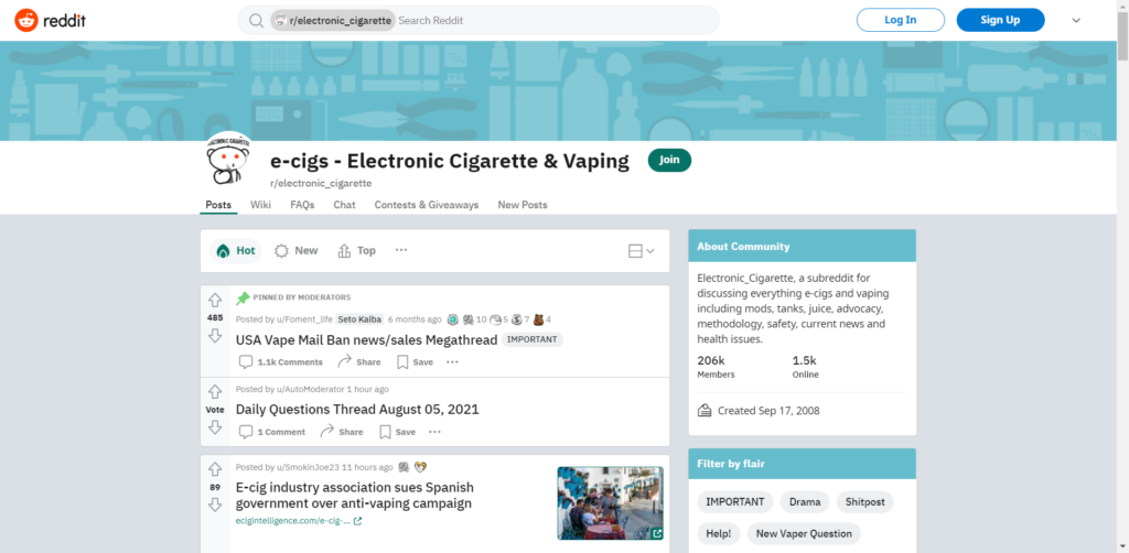 Subreddit about electronic cigarettes and vaping