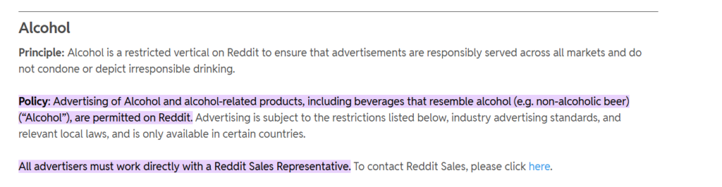 Reddit's ad policy about alcohol