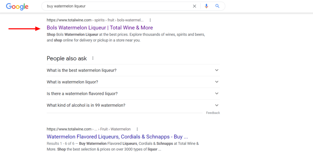 Number one spot in Google search results