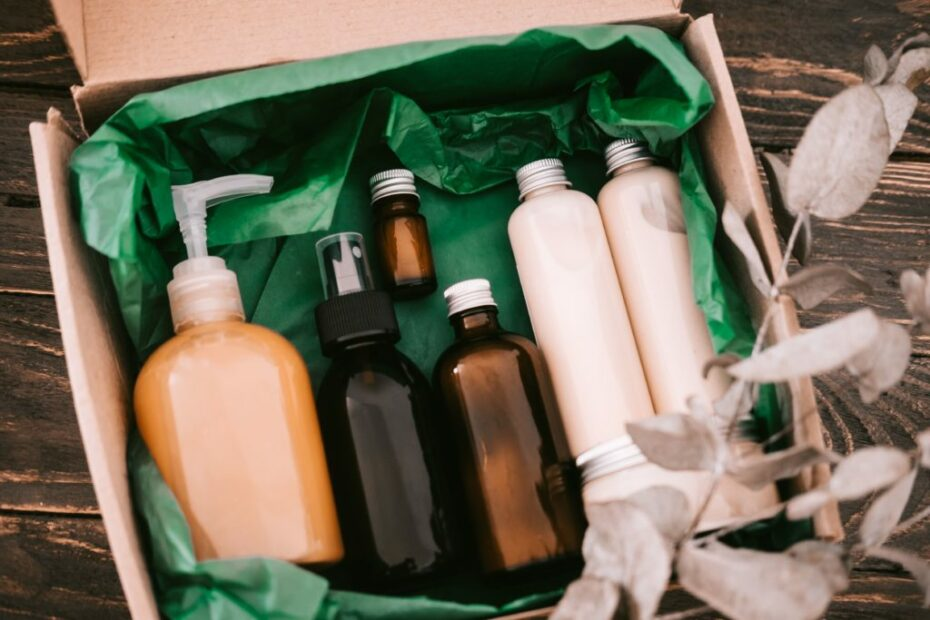 beauty box with bottles of natural cosmetics wrapp T3JRDZT min 1024x683